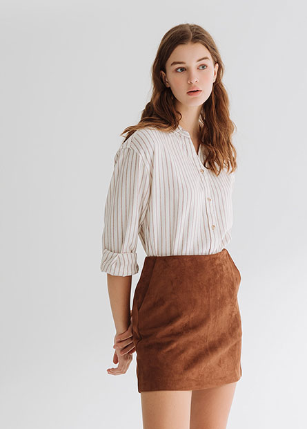 麂皮針織短裙