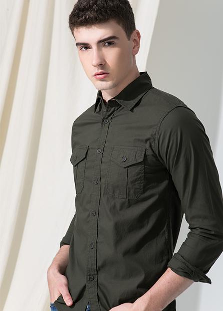 Slim Fit雙口袋長袖襯衫