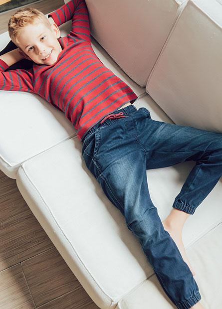 Regular Fit童牛仔束口褲