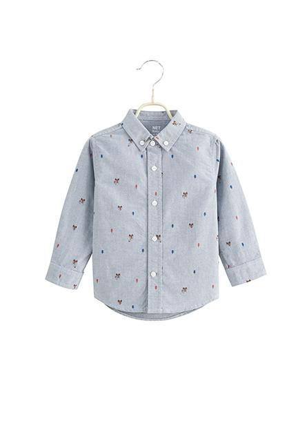 男嬰鈕釦領長袖襯衫