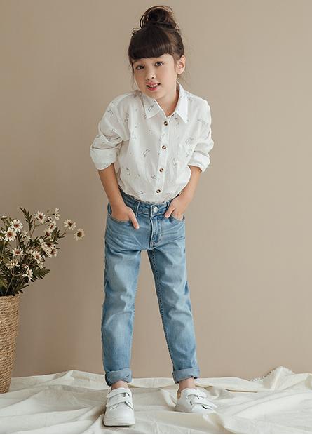 女童單口袋長袖襯衫