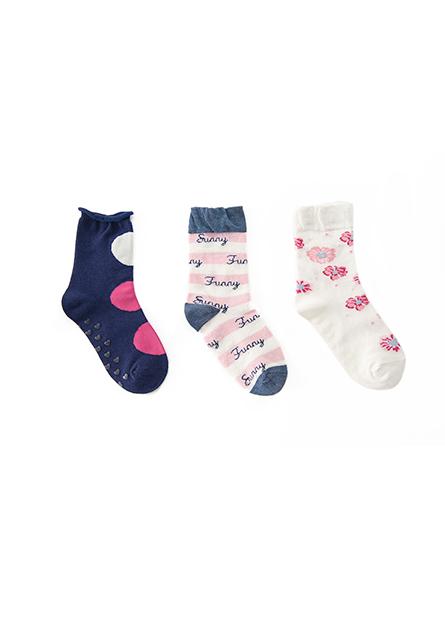 童提花襪(三入)