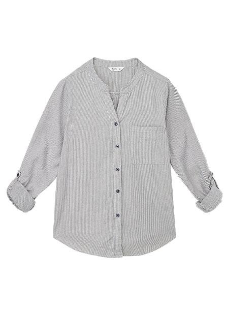 V領印花長袖襯衫