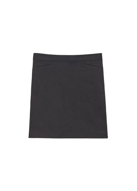 微光澤及膝商務短裙