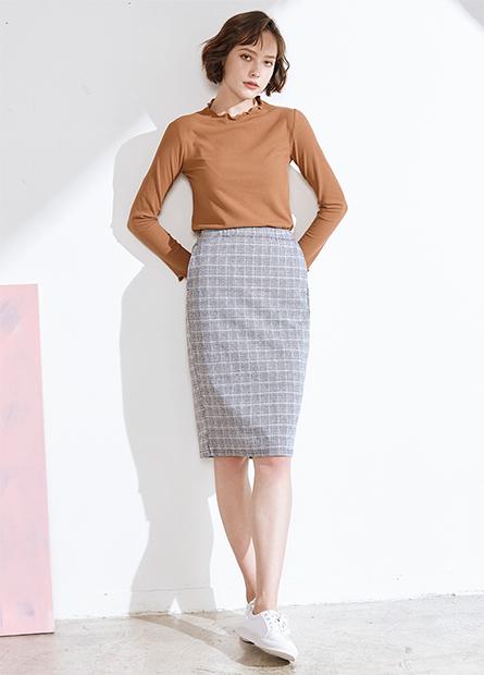 格紋針織中長裙