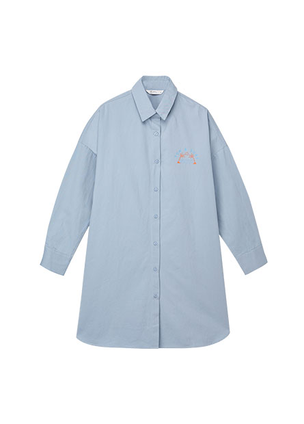 襯衫領印花長版襯衫