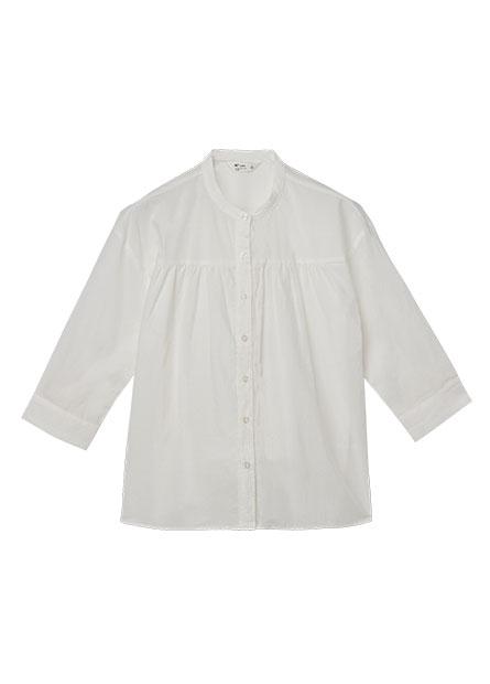 立領胸抽皺長袖襯衫