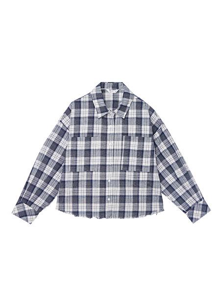 下襬抽鬚長袖襯衫