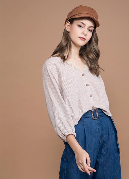 V領短版長袖襯衫