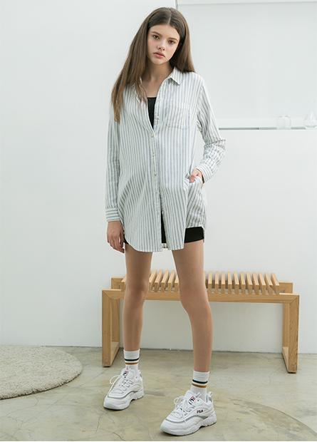 襯衫V領長袖襯衫