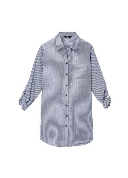 V領長版長袖襯衫