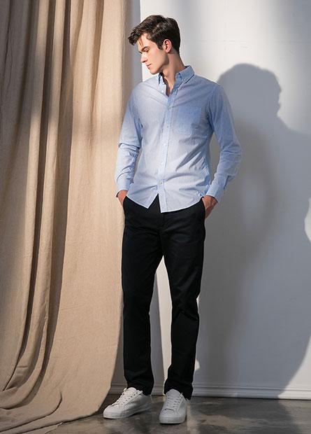Regular Fit基本斜紋褲