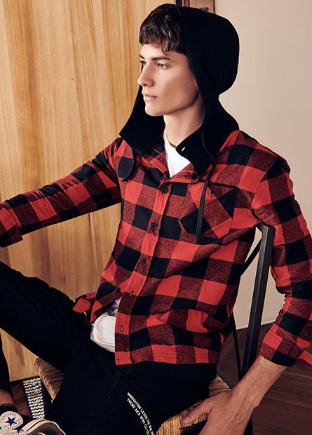 假兩件長袖連帽襯衫