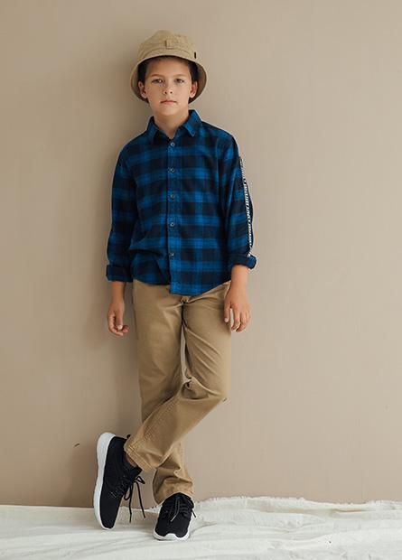 修身型男童全鬆緊五口袋長褲