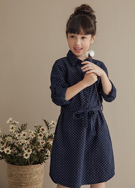 女童襯衫領腰綁帶洋裝