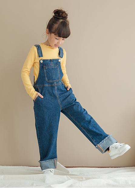 女童吊帶牛仔長褲