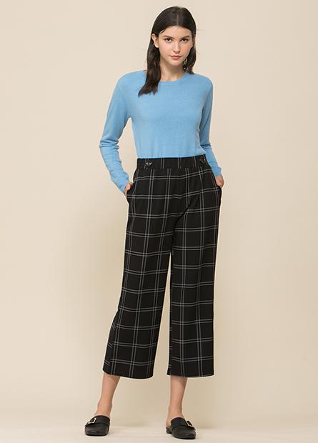 腰頭鈕釦裝飾寬長褲