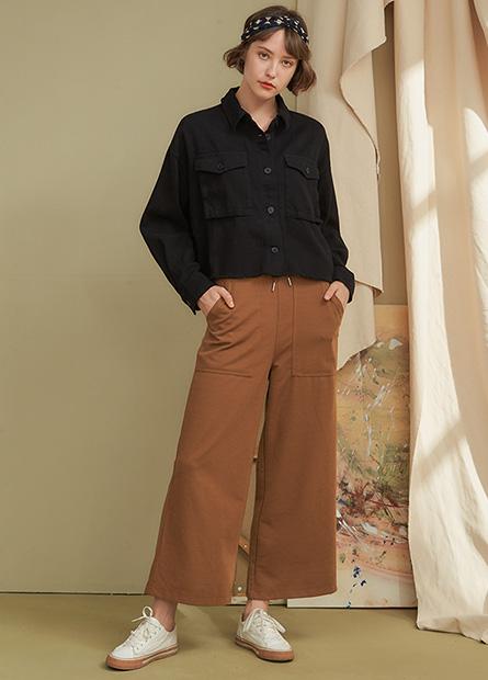 大口袋羅馬抽繩寬長褲