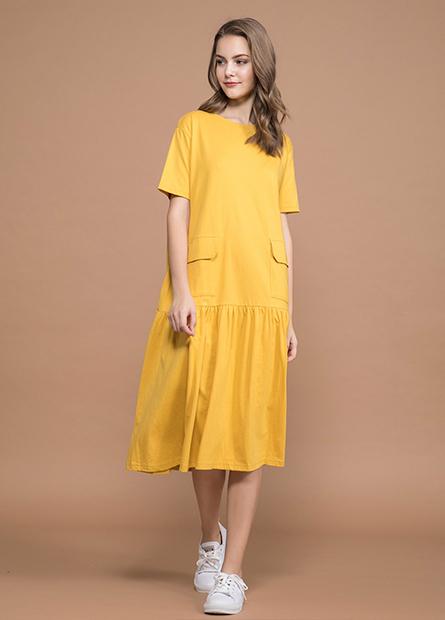 剪接裙擺口袋洋裝