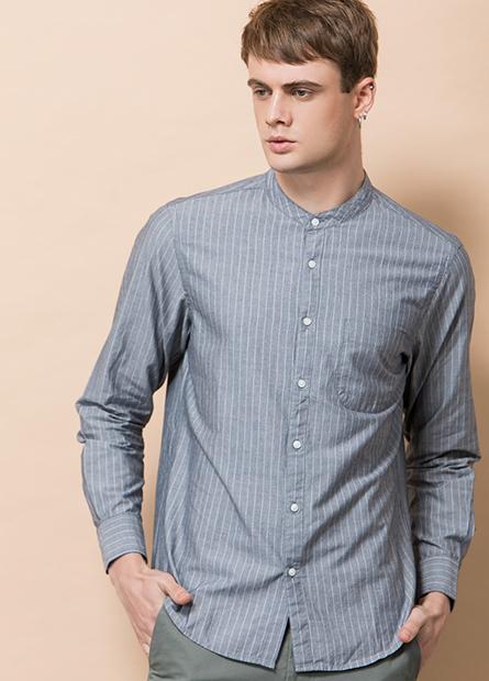 小立領單口袋長袖襯衫