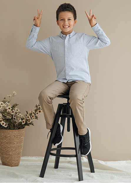 男童單口袋長袖襯衫