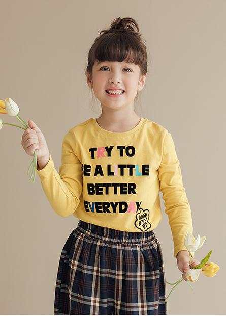 女童英文字印花T