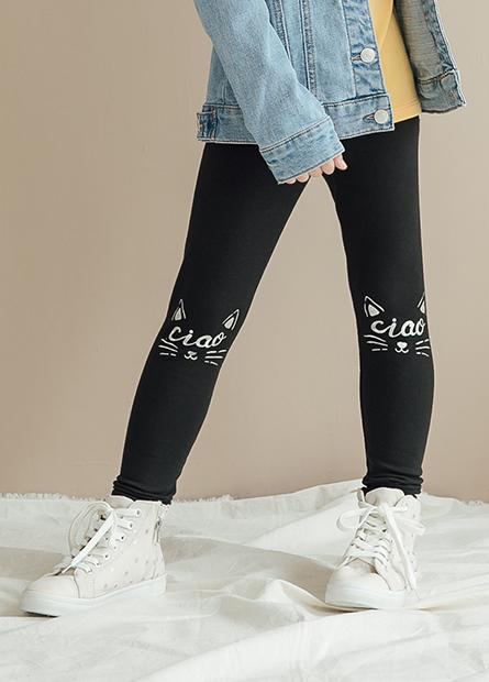 女童印花側條長褲