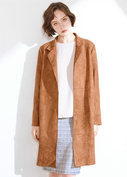 麂皮翻領外套