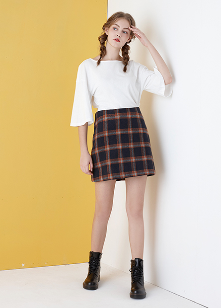 格紋高腰短裙