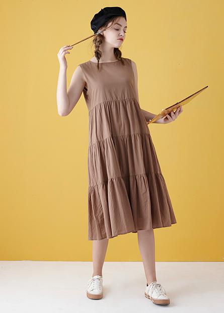 拼接層次無袖洋裝