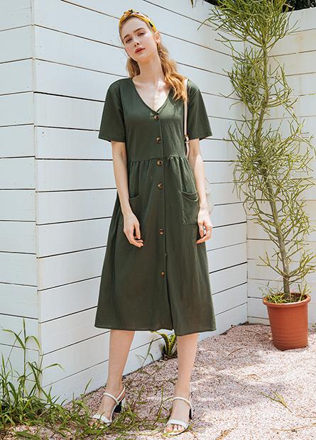 V領排釦長洋裝