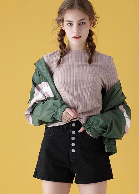 拼接色條立領夾克