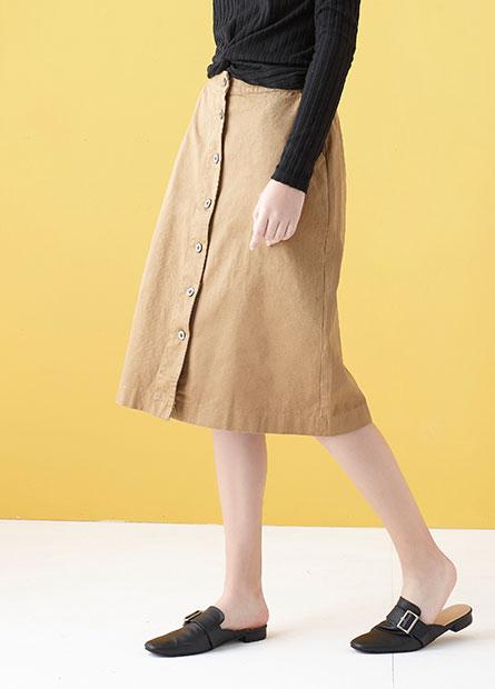 前排釦中長裙