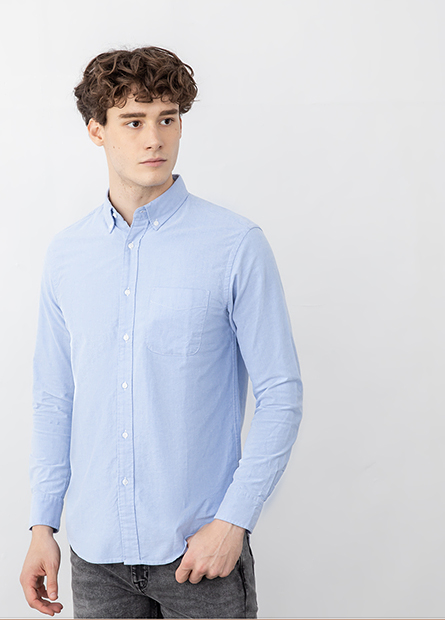 鈕釦領口袋牛津襯衫