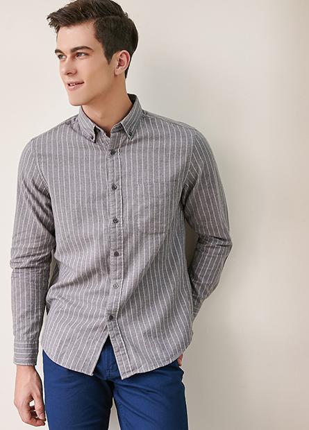 鈕釦領薄法蘭絨襯衫