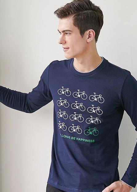 雙層領腳踏車長袖T