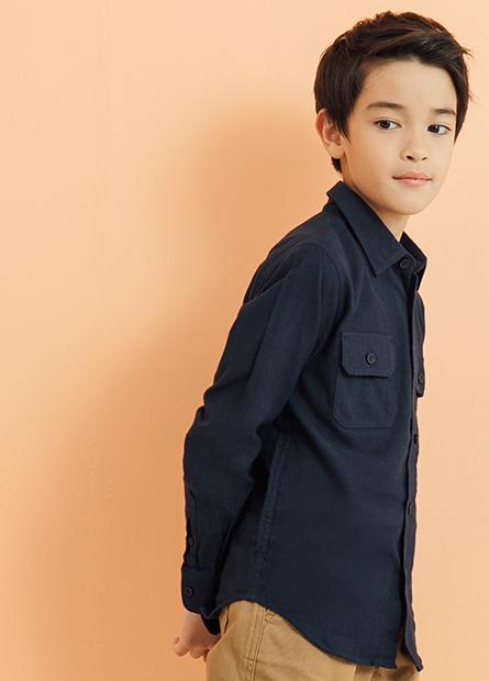 男童雙口袋長袖襯衫