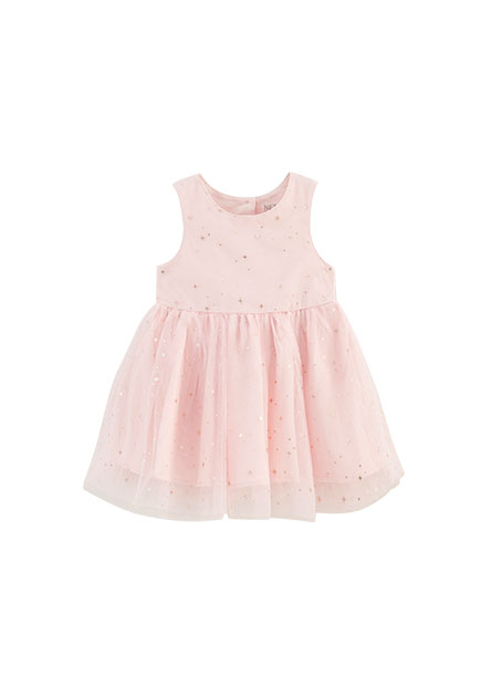 女嬰印花拼接紗裙洋裝