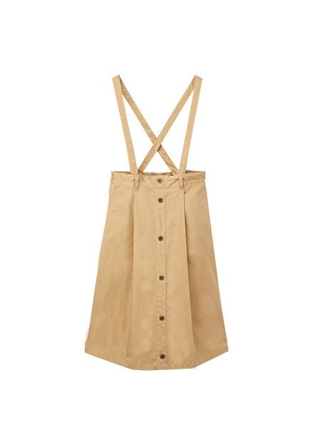 平織前排釦吊帶裙