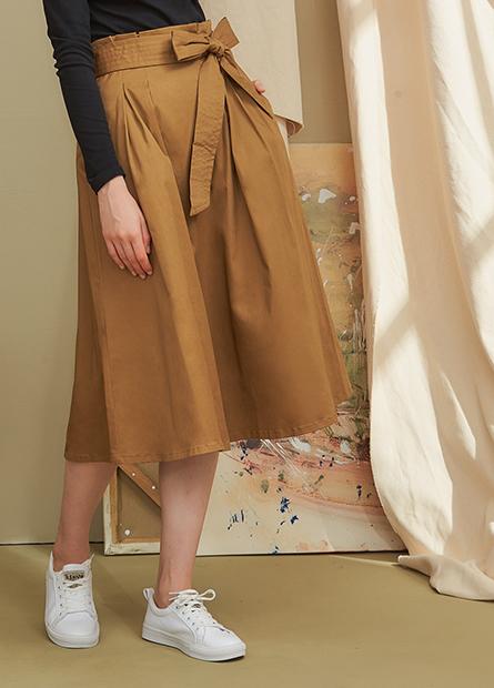 高腰綁帶打摺裙