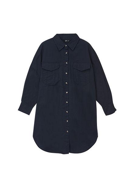 襯衫領長版雙口袋襯衫