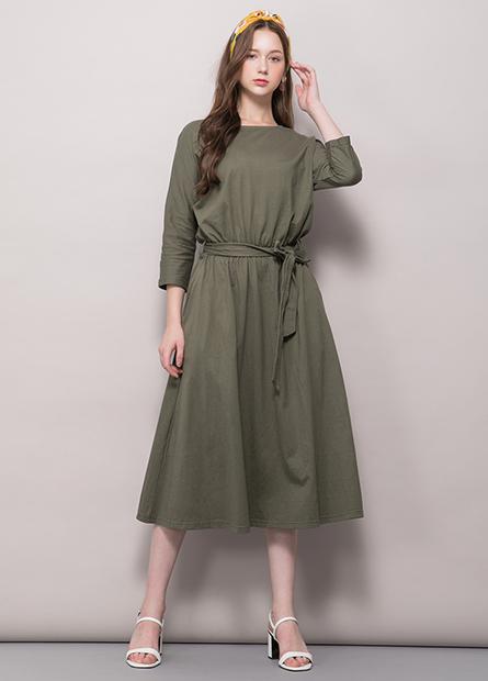 圓領腰抽皺綁帶洋裝