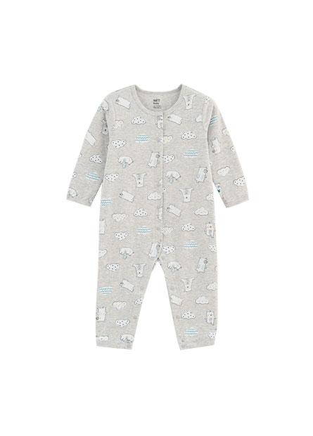 嬰兒滿版前開釦連身衣
