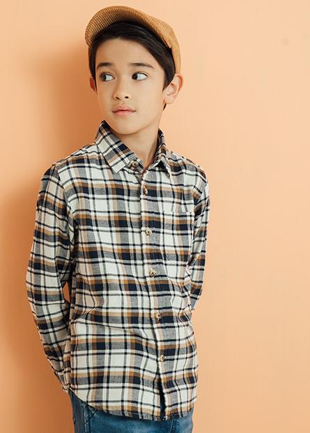 男童法蘭絨單口袋襯衫