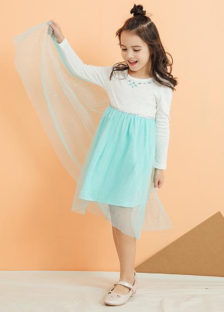 女童領縫鑽網紗洋裝