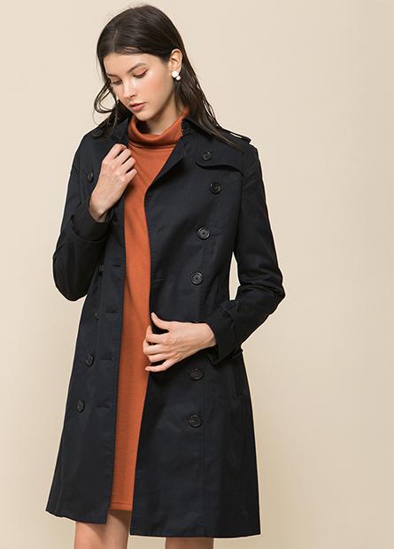 雙排釦長版風衣外套