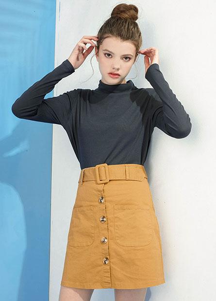 雙口袋排釦A字短裙