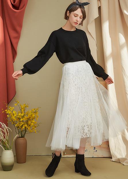 內蕾絲網紗長裙