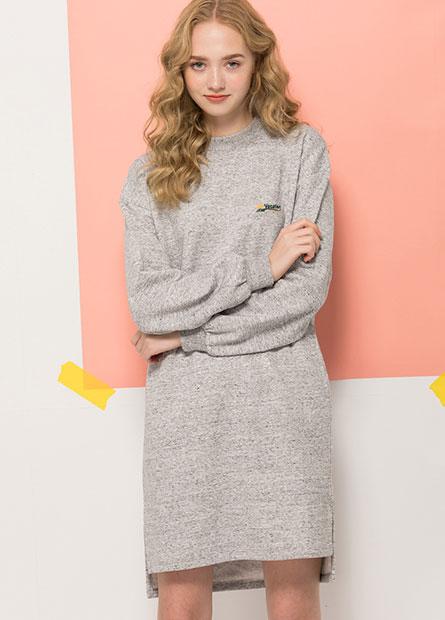 立領刷毛直筒洋裝