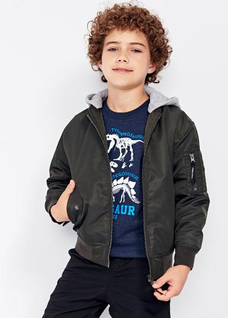 男童連帽飛行外套